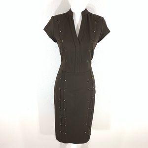 Cache Brown gold stud midi sheath dress